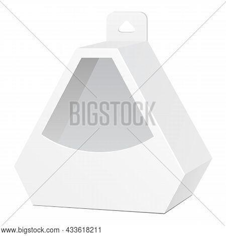 Mockup Cardboard Hexagon Triangle Carry Box Bag Packaging With Hang Slot For Food, Gift Or Other Pro