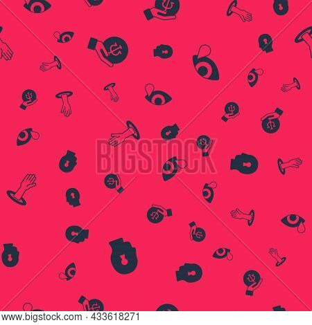 Set Solution To The Problem, Psychology, Psi, Helping Hand And Tear Cry Eye On Seamless Pattern. Vec