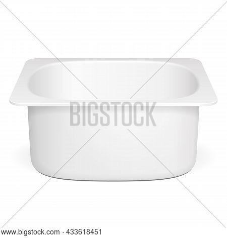 Mockup Open Cup Tub Food Plastic Container For Dessert, Yogurt, Ice Cream, Sour Cream Or Snack. Illu
