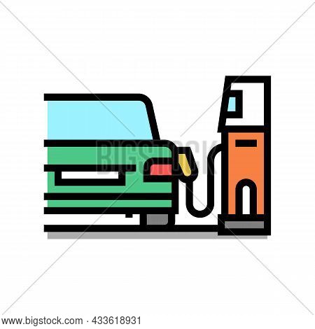 Refuel Car On Gas Station Color Icon Vector. Refuel Car On Gas Station Sign. Isolated Symbol Illustr