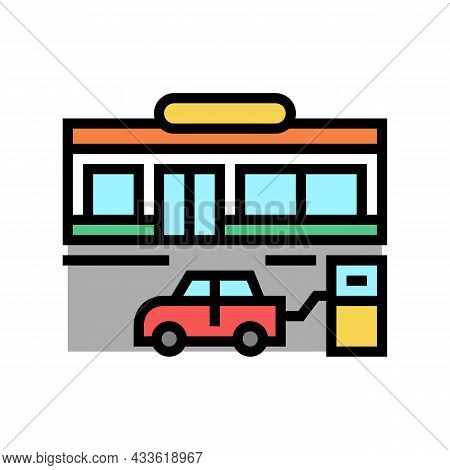 Store Gas Station Color Icon Vector. Store Gas Station Sign. Isolated Symbol Illustration