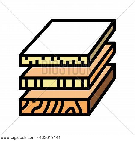 Sheets Of Wood Materials Color Icon Vector. Sheets Of Wood Materials Sign. Isolated Symbol Illustrat