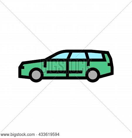 Wagon Car Color Icon Vector. Wagon Car Sign. Isolated Symbol Illustration