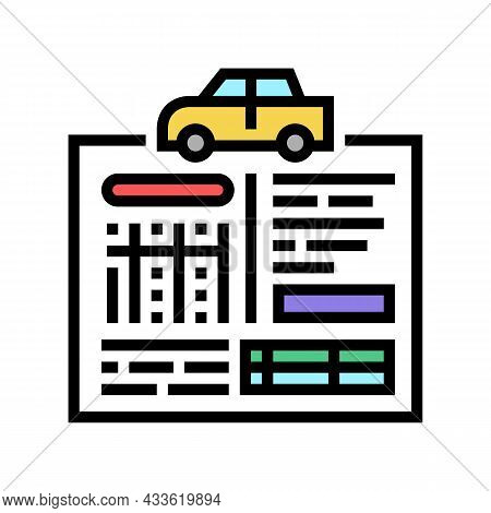 Car Service History Color Icon Vector. Car Service History Sign. Isolated Symbol Illustration