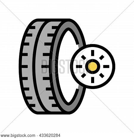 Summer Season Tires Color Icon Vector. Summer Season Tires Sign. Isolated Symbol Illustration