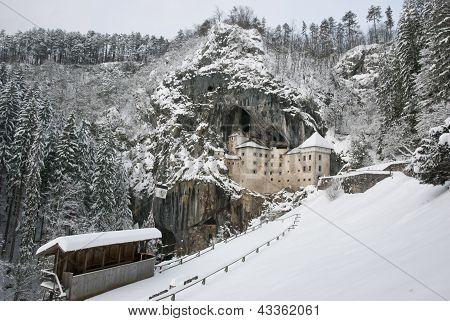 Predjama Castle In The Winter, Slovenia