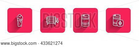Set Line Glass Of Beer, Wooden Barrel, Metal Keg And With Long Shadow. Red Square Button. Vector