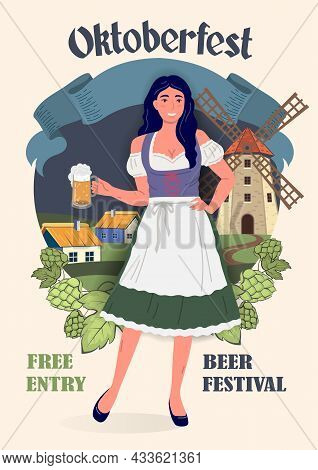 Oktoberfest Beer Festival Poster In Retro Style. Young Oktoberfest Girl In National German Tradition