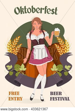 Young Smiling Oktoberfest Girl In National German Traditional Clothes With A Glass Of Beer Against T