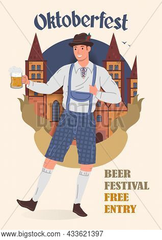 Oktoberfest Beer Festival Vintage Poster. A Man In A Traditional Bavarian National Costume With A Mu