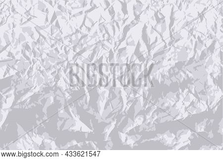 Crumpled Paper Texture. Vector A Piece Of Paper That Has Been Wrinkled And Then Straightened. Realis