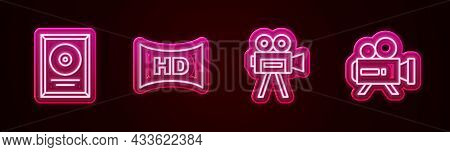 Set Line Cd Disk Award In Frame, Hd Movie, Tape, , Retro Cinema Camera And . Glowing Neon Icon. Vect