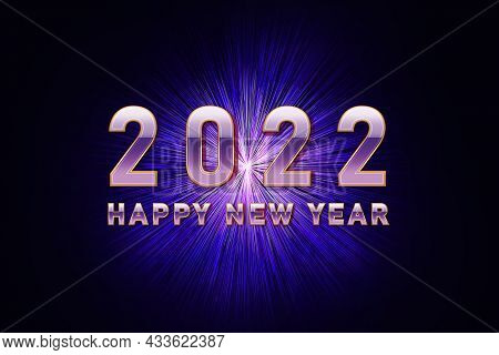 2022 Happy New Year. Neon Background With Happy New Year Wishes For Flyer, Poster, Calendar Header,