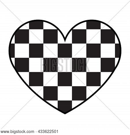 Vector Flat Heart With Chess Checkered Texture Isolated On White Background