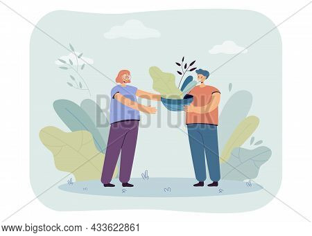 Female Cartoon Character Giving Potted Plant To Male Friend. Man Holding Pot With Leaves Flat Vector