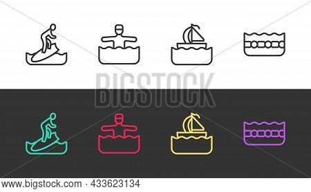 Set Line Surfboard, Water Gymnastics, Yacht Sailboat And Swimming Pool On Black And White. Vector