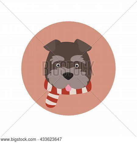 Schnauzer Dog Icon In Scarf On Peach Background
