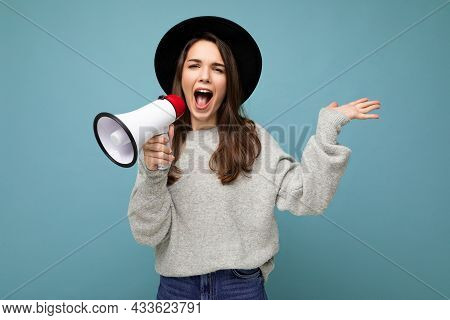 Photo Of Young Beautiful Attractive Positive Brunette Woman With Sincere Emotions Wearing Stylish Bl