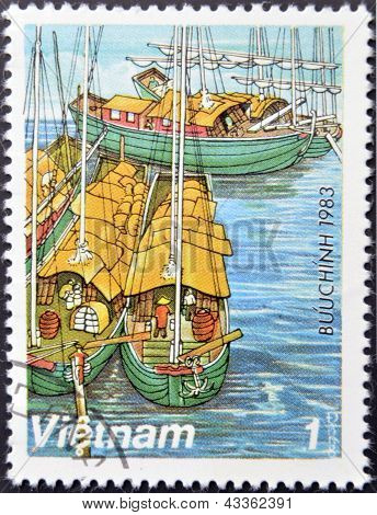 A stamp printed in Vietnam shows Sampans on Red River