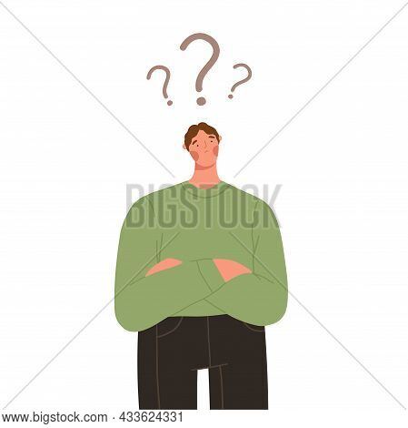 Thinking Man Has A Question. Confused Man Makes A Decision. Flat Graphic Vector Illustrations Isolat