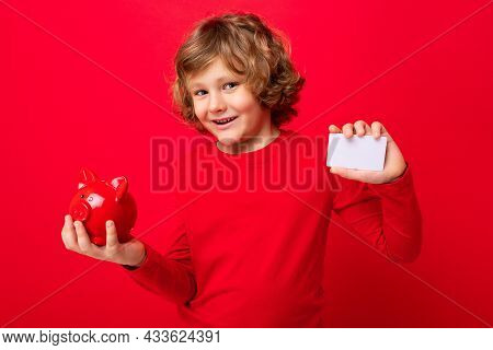 Portrait Photo Of Positive Happy Smiling Little Boy With Curly Blond Hair With Sincere Emotions Wear