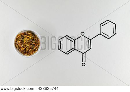 Pot Marigold, Ruddles Or Scotch Marigold Medicinal Plant Used In Herbal Medicine, With The Chemical