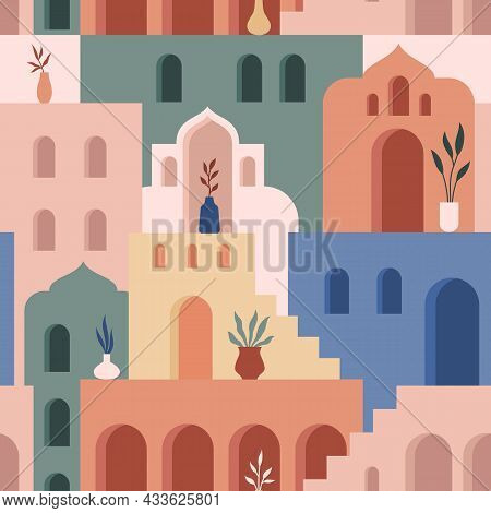 Abstract Architecture. Minimalist Geometric Building Shapes Seamless Pattern, Moroccan Oriental Stre
