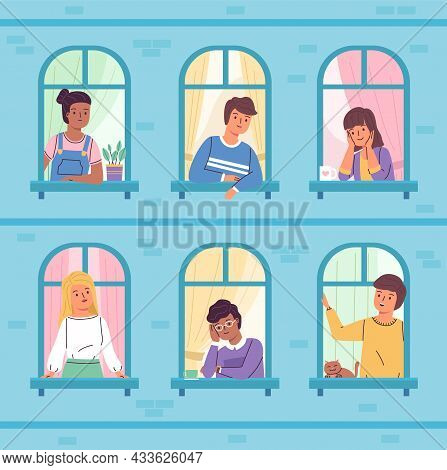 Peeking Windows People. Smiling Boys And Girls Look At Street Through Arched Windows, Young Observer