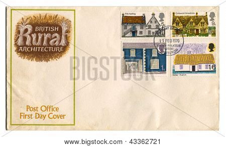 UK - CIRCA 1970: A stamp printed in UK shows image of the British Rural Architecture, circa 1970.