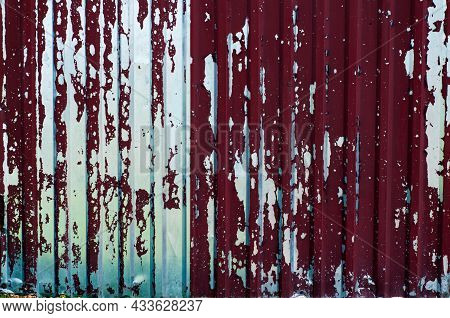 Damaged Corrugated Metal Sheet, Weathered Rusted Steel, Grunge Background With Red Painted Metal, Te