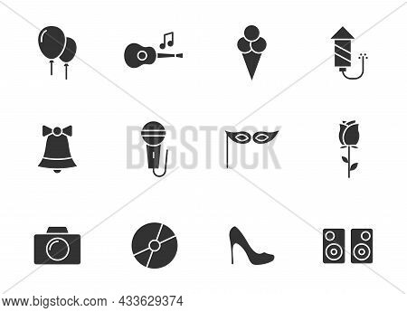 Party Silhouette Vector Icons Isolated On White. Party Celebration Icon Set For Web, Mobile Apps, Ui