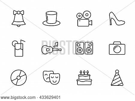 Party Line Vector Icons Isolated On White. Party Celebration Outline Icon Set For Web And Ui Design,