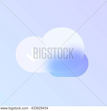 Cloud Download Glass Morphism Trendy Style Icon. Cloud Download Transparent Glass Vector Icon With B