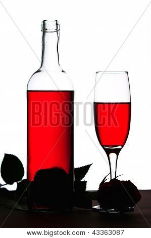 Glass Of Wine And Rose