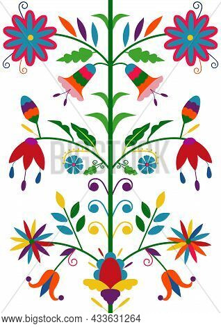 Ethnic Floral Seamless Pattern Isolated On White Background. Mexican Traditional Otomi Embroidery St
