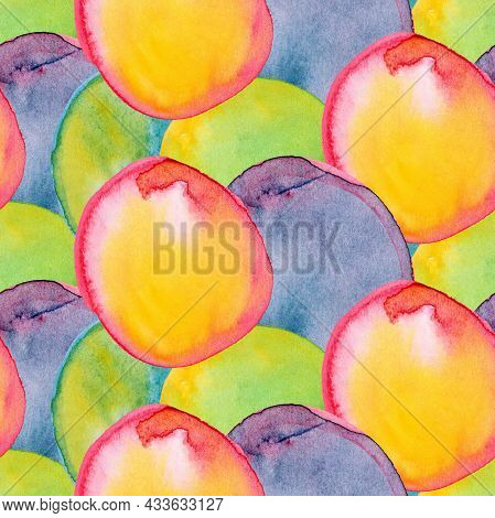 Seamless Pattern With Bright Watercolor Circles On A Dark Background.    Hand-drawn Illustration.