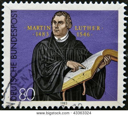 A stamp printed in Germany shows Martin Luther