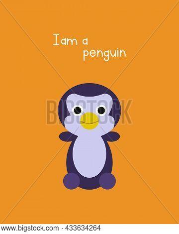 Cute Penguin - Color Flat Illustration. Cold Winter Symbol. Antarctic Bird, Animal Illustration.