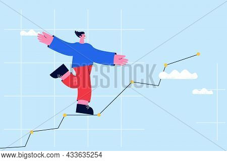 Financial Chart Showing Growing, Business Growth Concept, Business Diagram, Leadership And Business