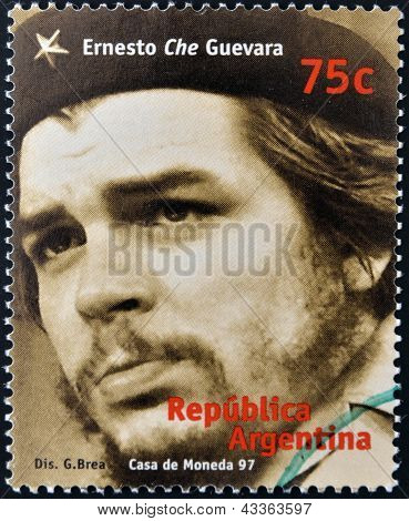 A stamp printed in Argentina shows Ernesto Che Guevara