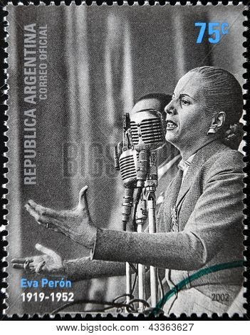 a stamps printed in Argentina shows Evita Peron