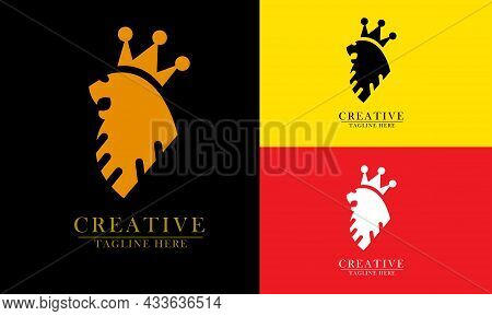 Lion Head Crowned King Elegant And Sweet, Great For Lion King Logo Icon, Beast, Nature, Power. Execu