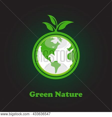 Green Plant Roots Circle The Globe Icon Logo For Nature Conservation Protecting The Planet  Caring F