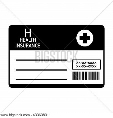 Health Insurance Card Flat Design Line Art. Medical Insurance Card In Black And White Concept Vector