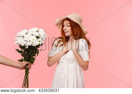 Romance, Tender And Lovely Moments, Relationship Concept. Touched Sighing And Astonished Cute Redhea