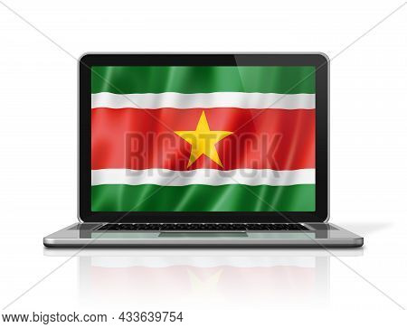 Suriname Flag On Laptop Screen Isolated On White. 3d Illustration Render.