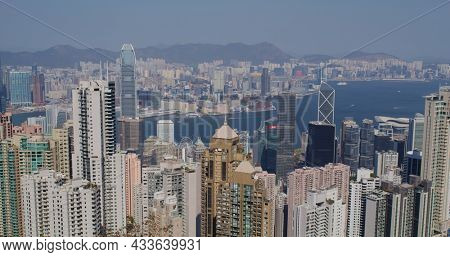 Victoria Peak, Hong Kong 05 February 2021: Hong Kong skyline