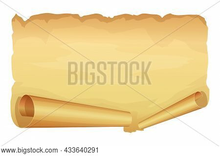 Big Golden Ribbon Of Parchment On White Background