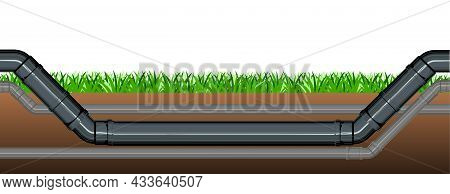 Pipeline For Various Purposes. Symbolic Image. Underground Part Of System. Isolated Illustration Vec
