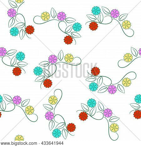 Summer Romantic Pattern With Colorful Flowers On White. Decorative Color Elegant Romantic Seamless P